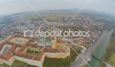Top view of Melk Abbey and river Danube, Austria. Cold, rainy weather. Winter — Stock Video