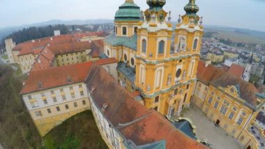 Roofs, inner yard of Melk Abbey, Austria. Aerial view of Baroque-style building — Stock Video
