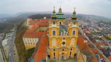 Flyover view of famous Baroque-style abbey in Melk, Austria. Inner yards visible — Stock Video