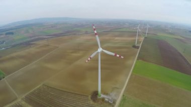 Top view of rotating wind turbines. Industrial wind power. Alternative energy — Stock Video