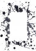 черными чернилами пятна, которые образуют форму rectancle. — Стоковое фото