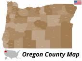 Oregon County Map — Stock Vector