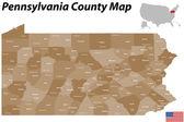 Pennsylvania County Map — Stock Vector