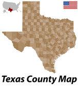 Texas County Map — Stock Vector