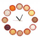 Clock shows what type of grain to eat — Stock Photo