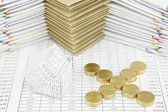 Bankruptcy of house and pile of gold coins as cross — Stock Photo
