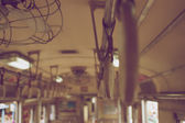 Old handrails inside train vintage style — Stock Photo