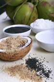 Coconut and sesame spa items — Stock Photo