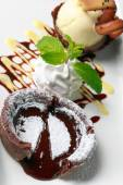 Chocolate fondant lava cake — Stock Photo