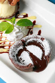 Chocolate fondant lava cake — Stock Photo