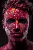 Man with bloody body art and face art — Stock Photo