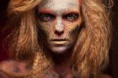 Girl with Golden Makeup — Stock Photo