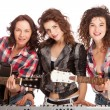 Female trio band performing music — Stock Photo #68949615
