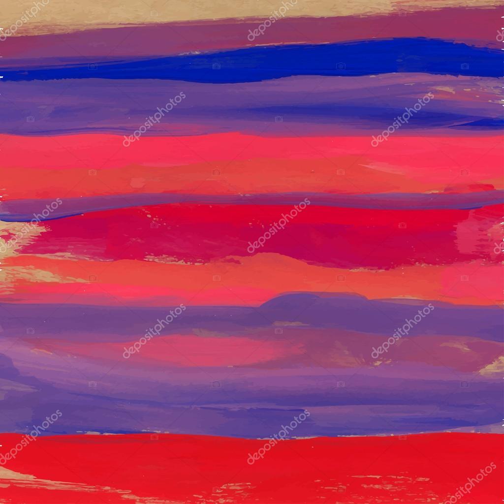 水彩手绘条纹的矢量背景画笔描边– 图库插图