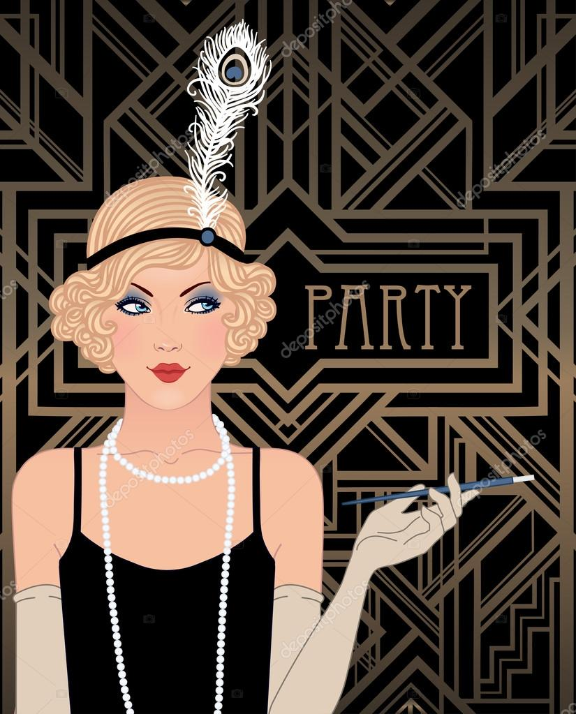 Flapper girl: Retro party invitation — Stock Vector © vgorbash #80045262