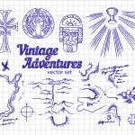 Vintage Adventures: Design elements — Stock Vector #80165972