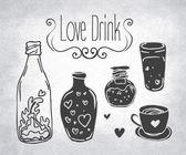 爱情药水。瓶. — 图库矢量图片