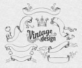 Vintage design elements set: Ribbons. — Stock Vector