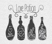 Love potion. Bottles. — Stock Vector