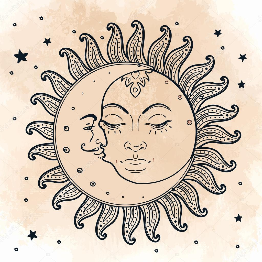 sun and moon illustration in vintage style stock. Black Bedroom Furniture Sets. Home Design Ideas