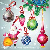 Christmas-tree decorations set — Stock Vector