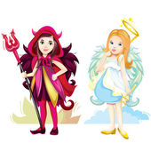 Angel and imp girls — Stock Vector