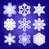 Vector set of  filigree snowflakes — Stock Vector