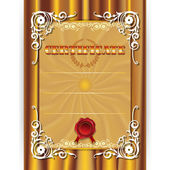 Gold certificate on textile background — Wektor stockowy