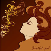 Graphic portrait of a beautiful girl — Stock Vector