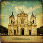 Church of Notre-Dame in Versailles in vintage style — Stock Photo
