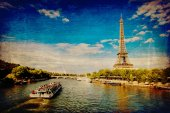 The Eiffel Tower in Paris in vintage style — Stock Photo