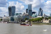 View of modern architecture in the City of London — Stock Photo