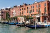 Gondolas moored in Venice — Stock Photo