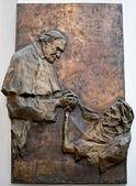 Reiief sculpture of Pope John Paul II in the Frauenkirche in Mun — Stock Photo