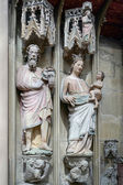 Statues Joseph and Mary in St James Chuch in Rothenburg — Foto de Stock