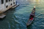 Gondolier plying his trade on the Grand Canal Venice — Foto Stock