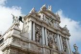 Statues on the roof of Santa Maria del Giglio Venice — Stock Photo