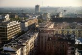 Early morning view over the skyline in Warsaw — Stock Photo
