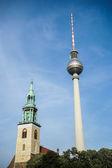 View towards the Berliner Fernsehturm in Berlin — Stock Photo