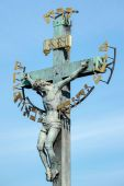 Statuary of St Cross - Calvary on Charles Bridge in Prague — Stock Photo