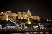 Buda Castle illuminated at nigt in Budapest — Stock Photo