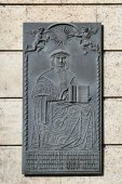Metallic plaque outside the Municipal Library in Prague — Stock Photo