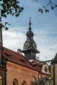 Spire of the Jewish Town Hall in Prague — Stock Photo