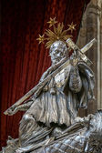 Detail of the silver tomb of St John of Nepomuk in St Vitus Cath — Stock Photo