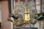 Unusual water spout in Rothenburg — Stock Photo