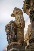 Statue of a lion on St. George's Fountain in Rothenburg ob der T — Stock Photo