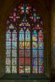 Stained glass window in St Vitus Cathedral in Prague — Zdjęcie stockowe