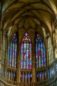 Stained glass window in St Vitus Cathedral in Prague — Stock Photo