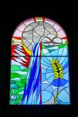 Stained glass window Church of the Holy Sprit in Los Gigantes Te — Stock Photo