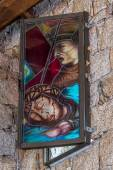 Stained glass window Church of the Franciscan Father Don Giacomi — Stock Photo
